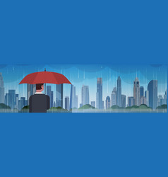 Man holding umbrella look at storm in city huge vector