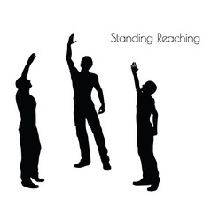 Man in Standing Reaching pose on white background vector