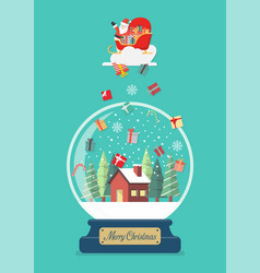 merry christmas glass ball with santa in sledge vector image