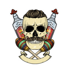 mexican sketch skull vector image