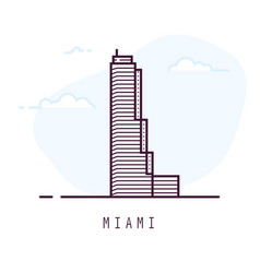miami line style building vector image