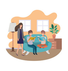 mother and sons sitting in couch avatar character vector image
