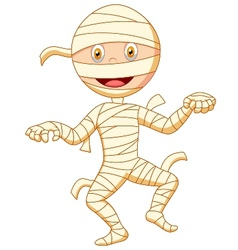 Mummy cartoon walking vector