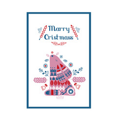 nordic ornaments folk art pattern christmas card vector image