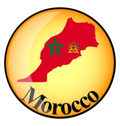 Orange button with the image maps of Morocco vector