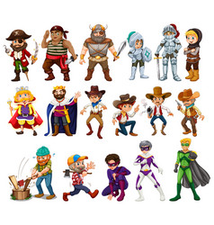 People in different costumes vector