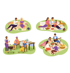Picnic people happy groups young women vector