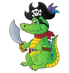 Pirate crocodile theme 1 vector