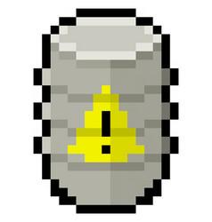 pixel barrel containing dangerous goods vector image