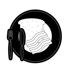 plate with bread an bacon vector image