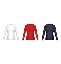 realistic set female long sleeve shirts vector image