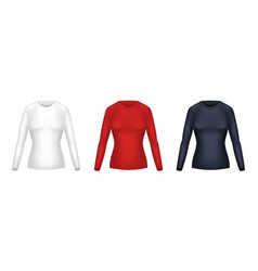 Realistic set of female long sleeve shirts vector