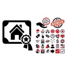 Realty Certification Flat Icon with Bonus vector