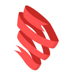 red ribbon icon isometric style vector image