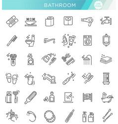 Restroom bathroom icon set line style stock vector