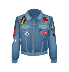 rock music patches on jacket vector image