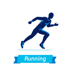 running man logo or badge silhouette of vector image