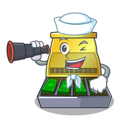 Sailor with binocular cash register with lcd vector