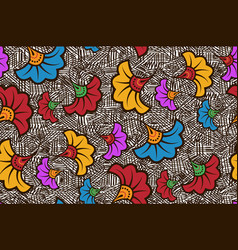 seamless african wax print fabric ethnic flowers vector image