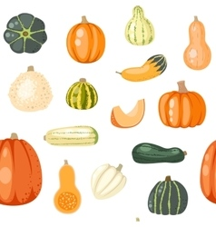 Seamless pattern with pumpkins on white vector
