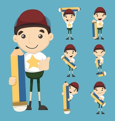 Set of boy and pencil vector image
