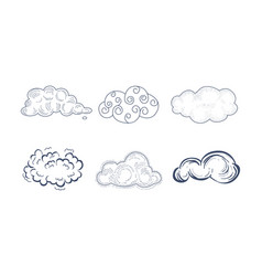 set of comic clouds of different shapes in vector image