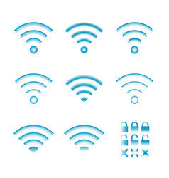 Set of wireless icons for wifi remote control vector