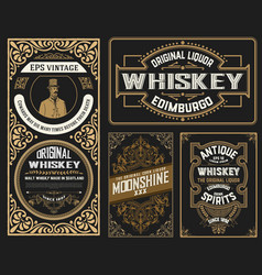Set whiskey labes layered vector