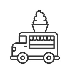 soft serve truck food truck line style editable vector image