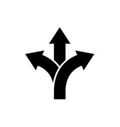 three-way direction arrow icon road direction sign vector image