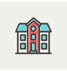 Two storey house building thin line icon vector image