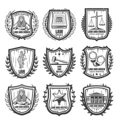 Vintage justice emblems set vector