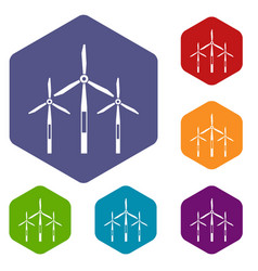 Wind generator turbines icons set hexagon vector