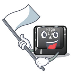 With flag button page up keyboard mascot vector