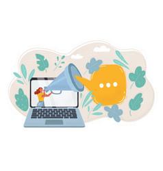 woman at laptop screen communicating vector image