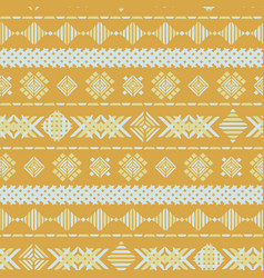yellow geometric embroidery seamless vector image