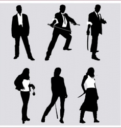 bad guy silhouettes vector image vector image