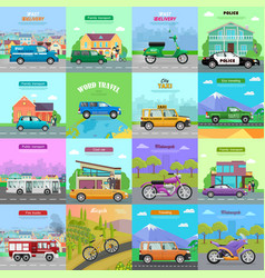 different means of transportation auto icons vector image