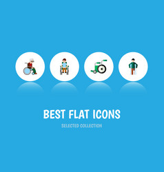 Flat icon handicapped set of injured disabled vector