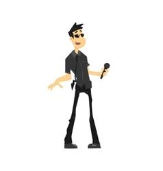 Guy In Black Singing Karaoke vector image