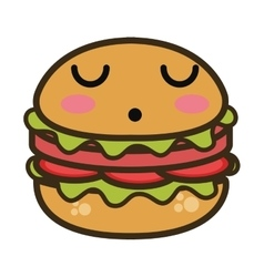 kawaii cartoon burger fast food vector image