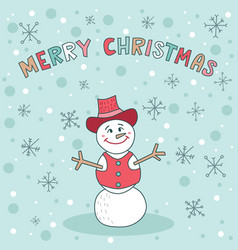 merry christmas snowman blue greeting card cute vector image