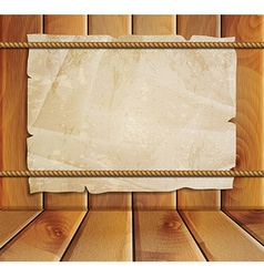 Old paper on a wooden background vector image vector image