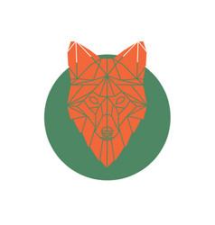 orange fox head geometric lines silhouette vector image
