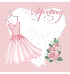 Vintage spring cardwatercolor pink dress rose vector