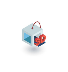 3d printer isometric flat icon 3d vector image vector image