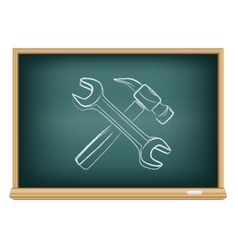 board hammer and wrench vector image