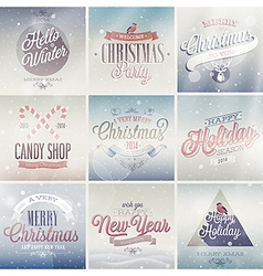 christmas emblems light vector image vector image