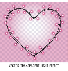 Garland in the form shape of heart with glowing vector
