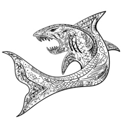Hand-drawn shark with ethnic doodle pattern vector image vector image